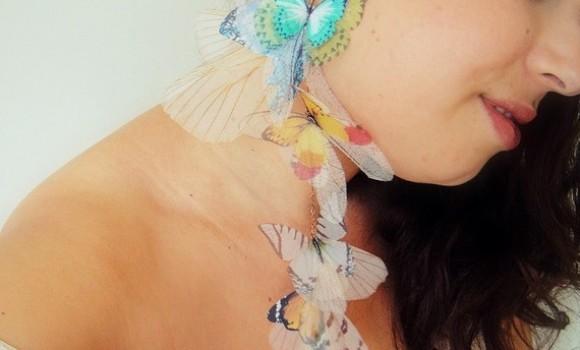 Orecchini in organza a tema farfalle