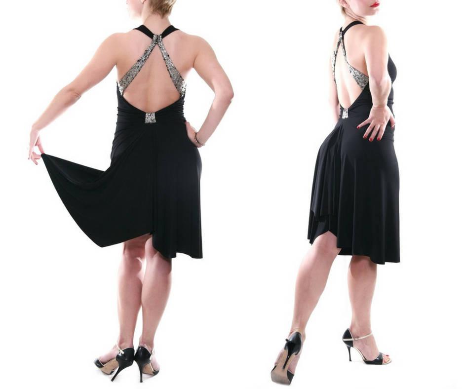 Vestito elegante nero  ideale per il tango e balli caraibici