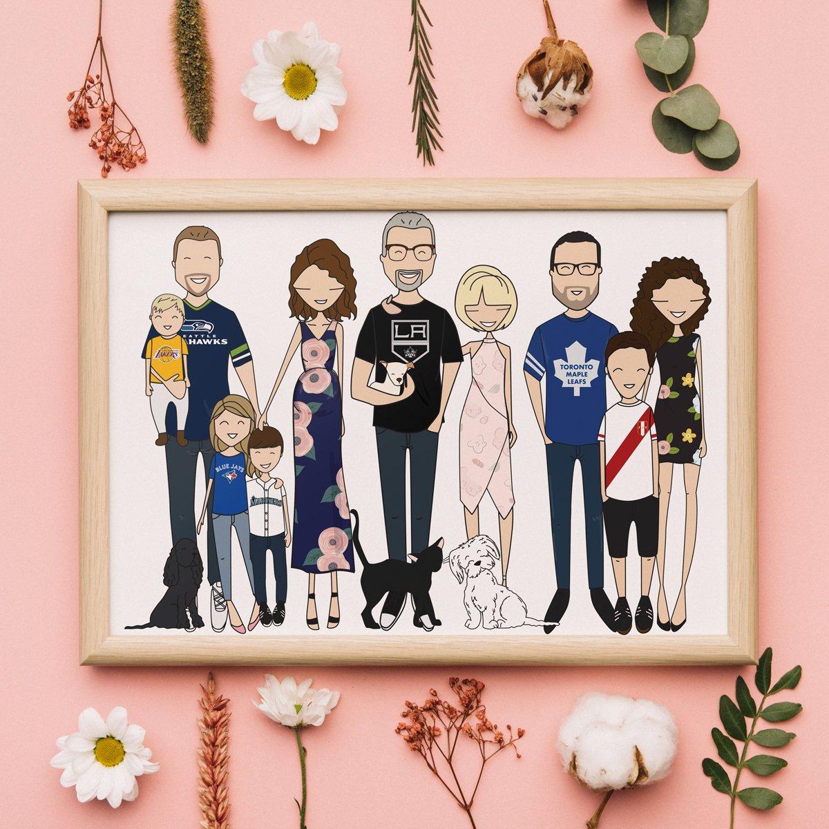 Ritratto di Famiglia Personalizzato - idea regalo famiglia