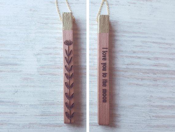 Collana personalizzabile in legno - regalo ideale per lei