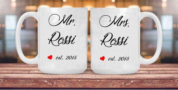 Coppia Tazze Mr. & Mrs. anniversario, ceramica bianca 11oz regalo per innamorati, anniversario  matrimonio  fidanzamento